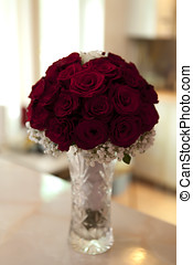 Beautiful bouquet of red roses in a vase