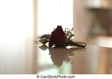 Beautiful red rose on a table - Beautiful red rose from...