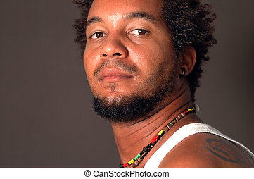 Latino man portrait - Portrait of young afroamerican man...