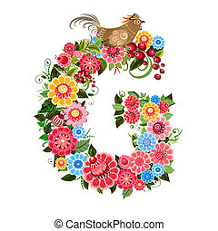 Floral letter to the birds in the style Khokhloma