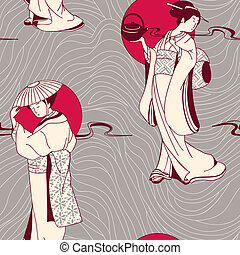 traditional Japanese Geisha pattern - vector background with...