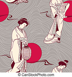 Vector of traditional Japanese Geis - Japanese geisha...