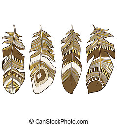 Ethnic Indian feathers plumage - vector seamless ethnic...
