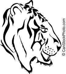 White tiger head - side view
