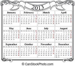 2013 retro calendar grid - Retro template for calendar 2013