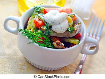 tailandés, conmoción, freír, pollo, wok, cacerola
