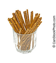 Pretzel sticks - Salted sticks in a glass isolated on white
