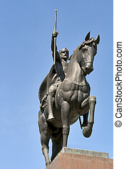 Statue of the King Tomislav in Zagreb, Croatia - Closeup of...