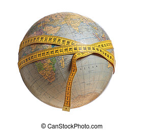globe with yellow measure tape