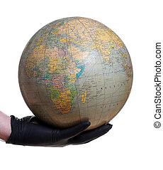 globe holding in hand with glove
