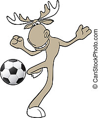 Football moose - Vector illustration of moose playing...