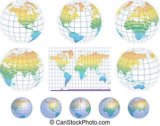 Collection of vector globes with world map detailed...