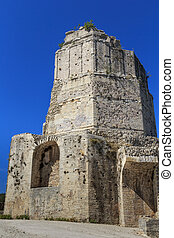 Roman tower in Nimes, Provence, France - Remains of Roman...