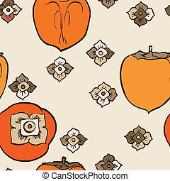 Persimmon seamless pattern vector - Persimmon seamless...