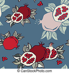 Pomegranates seamless background, Vector
