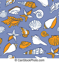 Seashells sea seamless pattern - Seashells sea vector...