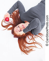 Red Hair with apple