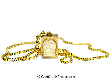 Gold necklace with amulet - Buddha amulet in gold frame...