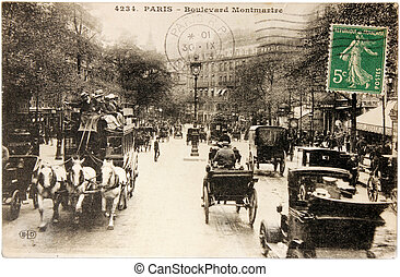 Montmartre Postcard - FRANCE - CIRCA 1913: a stamp printed...