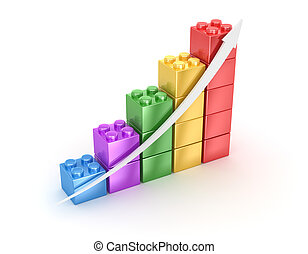 Bar chart from toy blocks , computer generated image 3d...