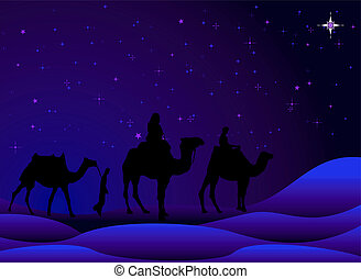 three wisemen - traditional christmas scene with camels and...
