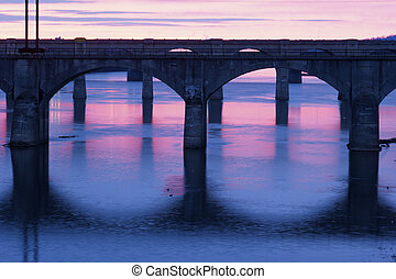 Bridges of Harrisburg at sunrise
