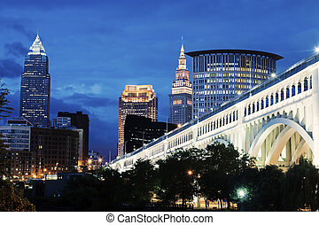 Cleveland skyline with bridge over Cuyahoga River