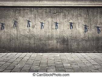 Skatter Graffiti - Graffiti Art of a skateboarder jumping...