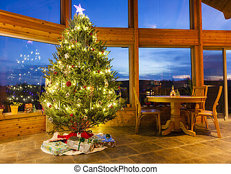 Christmas tree in modern home - Beautiful decorated...