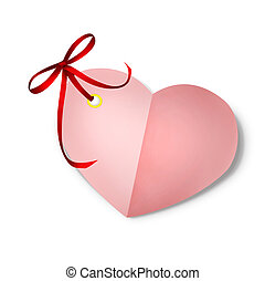 Paper heart valentine card with red ribbon bow isolated on white background