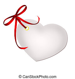Heart blank gift tag with red ribbon bow isolated on white...