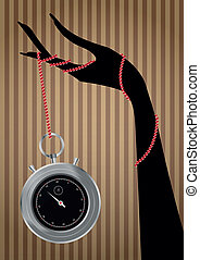 chronometer hand - illustration of chromometer with female...