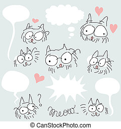 Doodled bespectacled cats set
