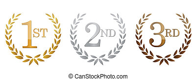 1st; 2nd; 3rd awards golden emblems. Illustration design.