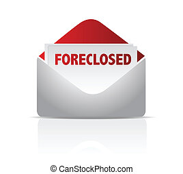 foreclosed mail envelope illustration design over white