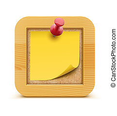 Cork board - illustration of post it note in on the cork...