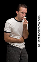 Belly Ache - A young man sick with a belly ache