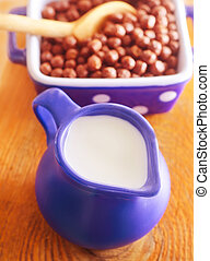 Dry breakfast and fresh milk in the jug