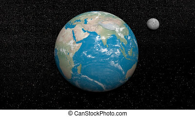 Earth and moon - 3D render