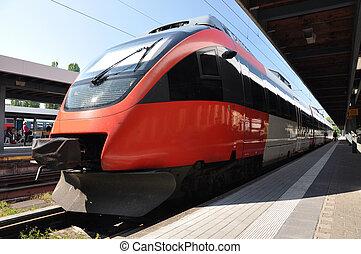 Passenger train at a station