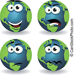 Cartoon Earth Icons Emotions - Illustration of a set of...