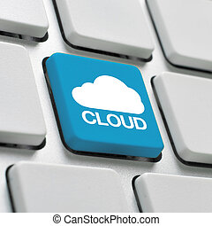 Cloud computing keyboard concept - Cloud computing concept...