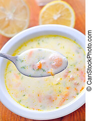 Fresh soup with shrimps and white sauce
