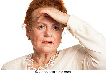 Confused senior woman experiencing memory loss