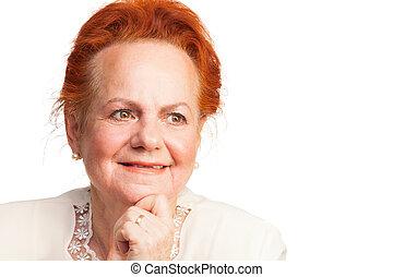 Retrato, sorrindo, mulher,  Sênior