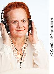 antigas, senhora, Escutar, música