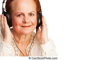 positivo, mulher, aposentado, Escutar, música