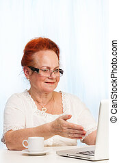 retired woman pointing at laptop screen - retired woman...