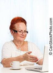 tela, mulher, aposentado,  laptop, apontar