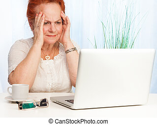 Granny confused - Senior woman with confused expression on...